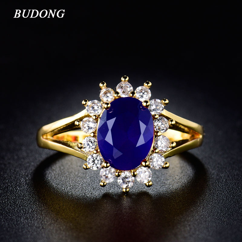 2016 New Fashion Women Oval Finger Rings 24K Gold Plated Party Mid Ring Sapphire Blue Crystal CZ Zirconia Wedding Jewelry R028