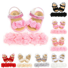 Baby Shoes For Girls Toddler Newborn Infant Baby Girls Boys Classic Hairband +Flower Sequins Fashion First Walkers Shoes Fashion(China)