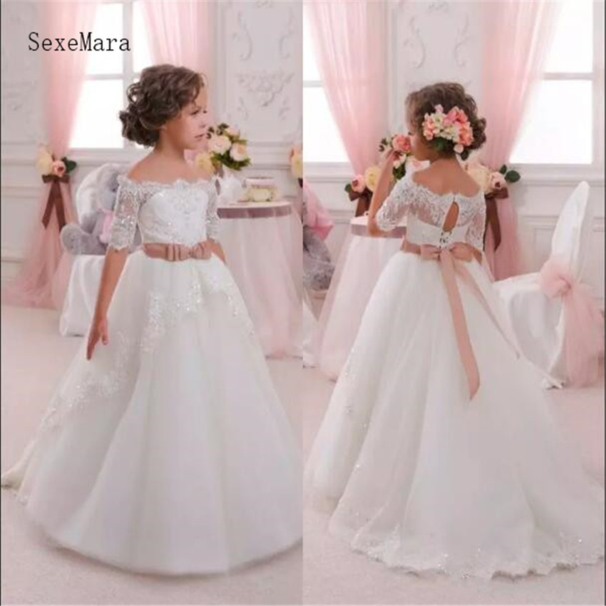 Lovely Flower Girl Dress With Appliques Sash Toddler Kids First Communion Dress Birthday Party Gown Real Photo High Quality