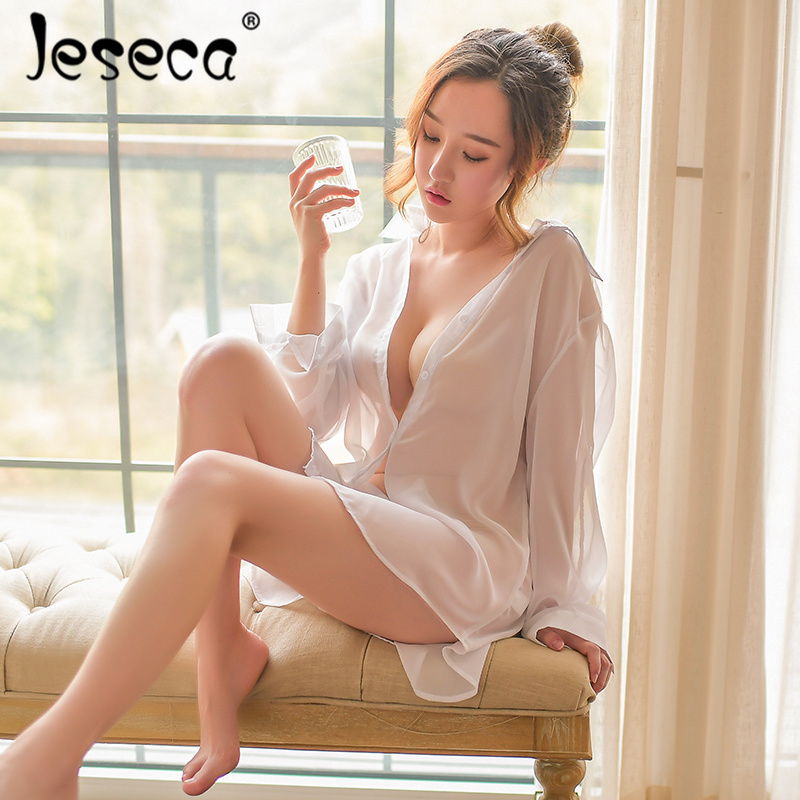 Jeseca Women Sexy Plus Size Sleepwear   Nightgowns   Female Spring Summer   Sleepshirts   Long Sleeve Perspective Nightwear   Nightgown