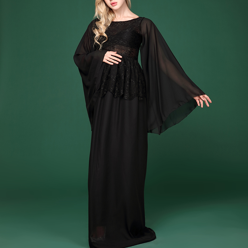 Fancy Pregnant Women Pregnant Photography Props Black Chiffon Long Sleeve Dress Maternity Photo Shoot Fashion Lace Dress Clothes envsoll pregnant women photography props long lace dresses fancy maternity photo shoot long sleeve v neck black dress clothes