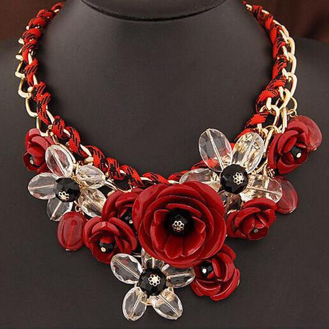 Colored flowers Artificial pendant Woven cotton rope necklace short clavicle  exaggerated women with accessories a1ef59201a76