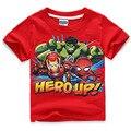 С коротким рукавом детей футболки, мальчики девочки майка детская одежда avengers2 ultron синие одежды халк железный человек тор капитан Американской