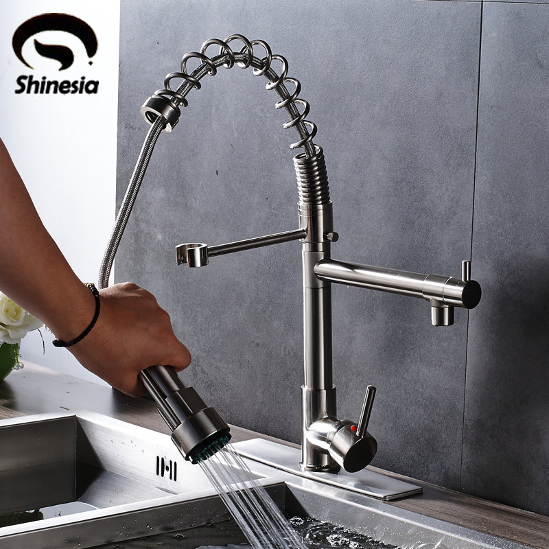 Nickel Brushed Kitchen Sink Faucet 360 Degree Rotating Mixer Tap Hot Cold Water Countertop Tap with