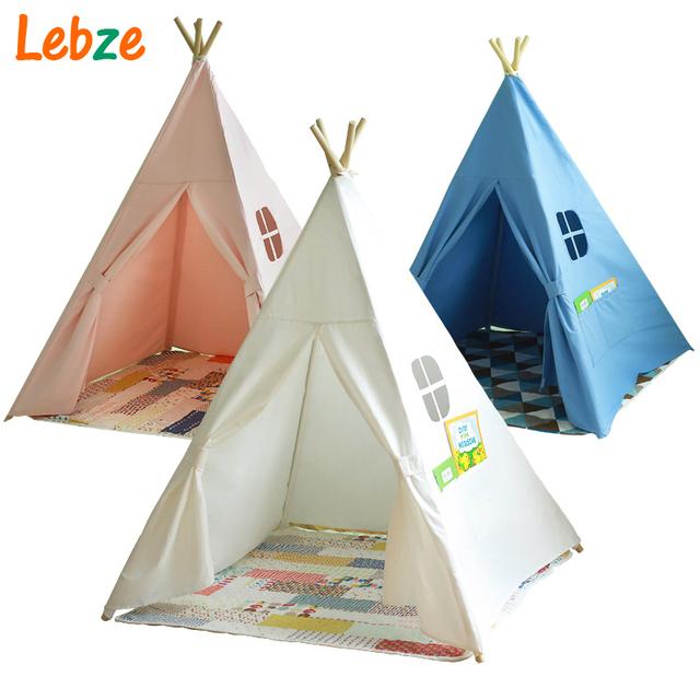 Quatro Pólos Crianças Playhouse Tendas Crianças Brincam Tenda Tenda de Lona de Algodão Branco para o Quarto Do Bebê Tipi