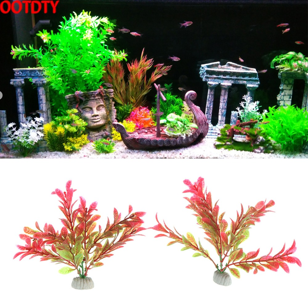 OOTDTY Artificial Aquarium Plant Plastic Decorative Fish Accessories Ornament Landscape