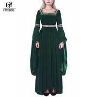 ROLECOS Flannel Lolita Dress Renaissance Victorian Dress Women Halloween Costume Retro Vintage Dress Long Sleeve Party Clothing