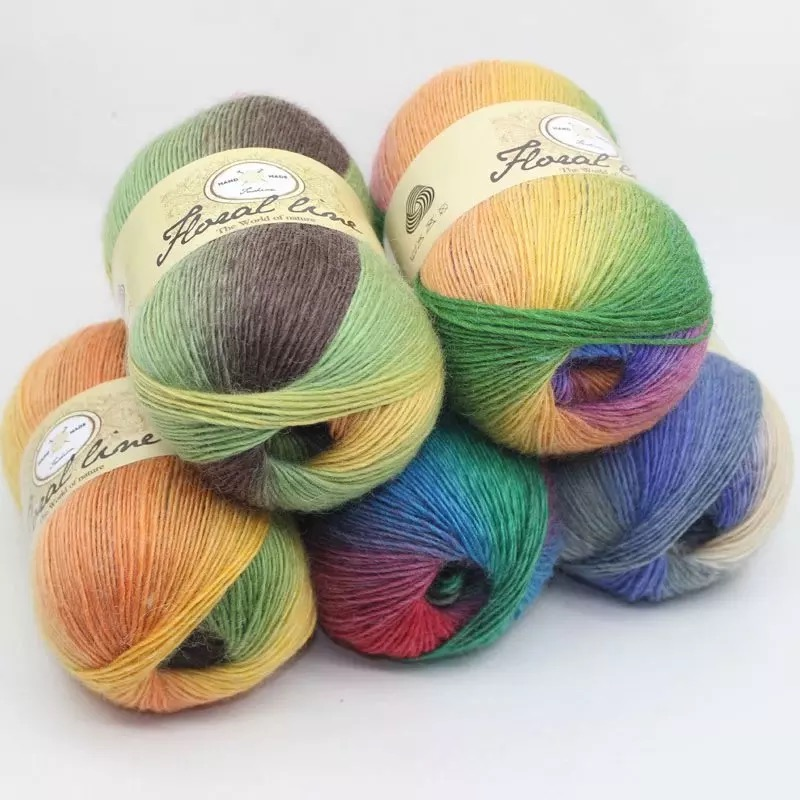 100% Merino Wool Yarn 16s Hand Knitted Or Hand Hook Yarns Mix Colors For Scarf Sweater 100 Grams  One Cone For Sample WY01
