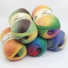 Пряжа из мериносовой шерсти, 16 s, ручная вязка или крючок, смешанные цвета, для шарфа, свитера, 100 грамм, один конус для образца, WY01