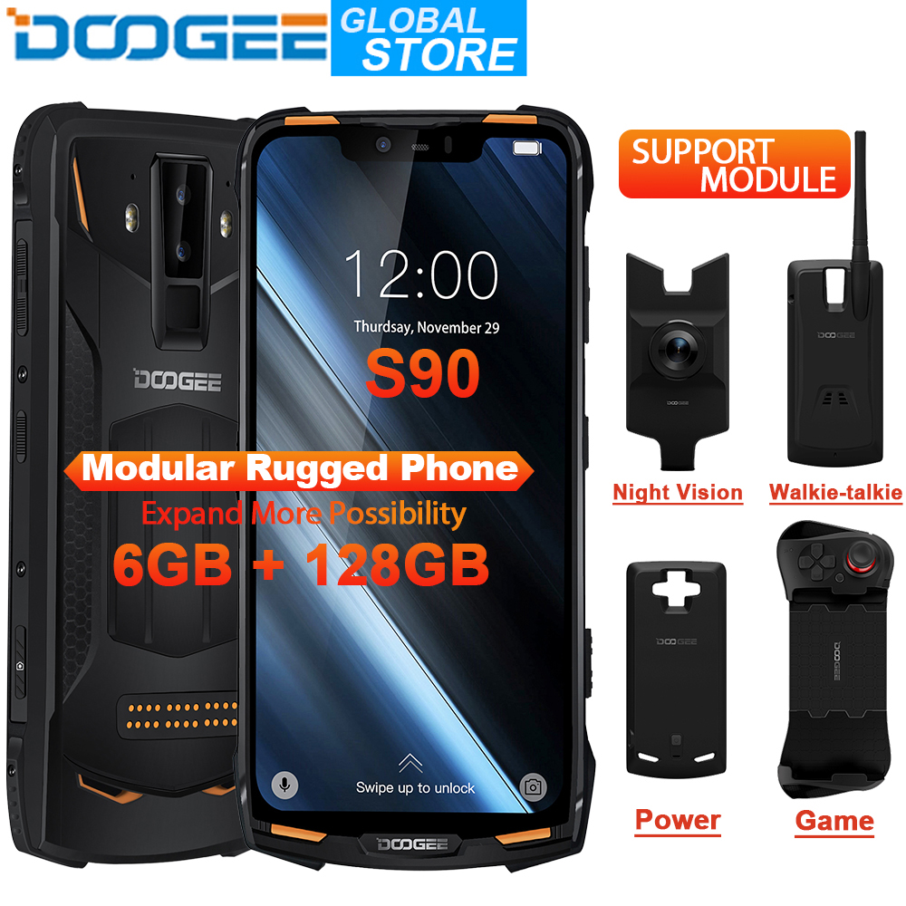 DOOGEE S90 Modular Phone IP68 Mobile Phone 6.18inch FHD Display 5050mAh Helio P60 Octa Core 6GB 128GB Android 8.1 16.0M Camera