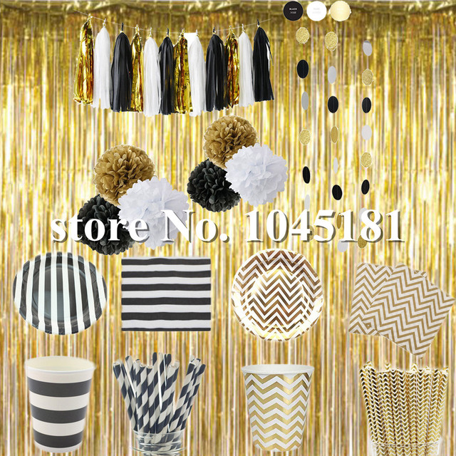 Black Gold Foil Curtain Party Tableware Paper Plates Cups Straws