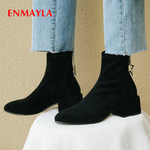 ENMAYLA 2019 Women Boots Winter Kid Suede Slim Square Heel Round Toe Shoes Short Plush Womens Ankle Size 34-39