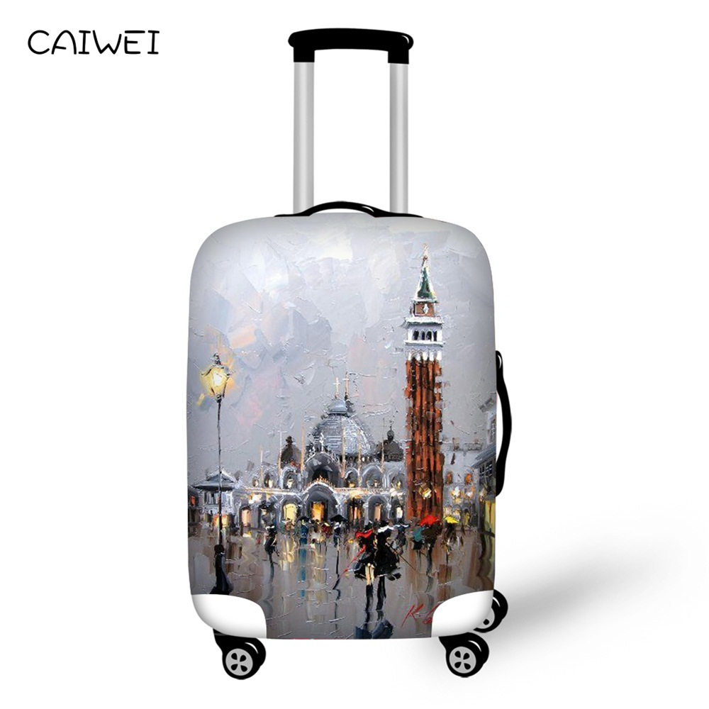 Suitcase Case Cover Elastic Travel Accessories for 18-30 inch Trolly Scenery Oil Painting Luggage Protect Rain Cover