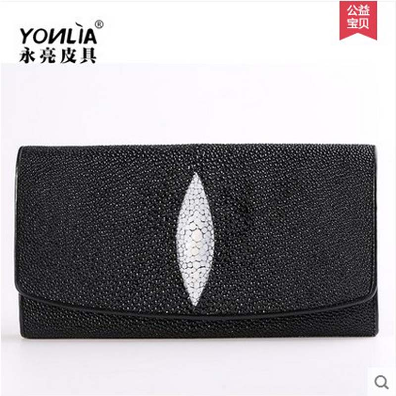yongliang Thailand pearl fish skin men women wallet long genuine leather wallet devil fish wallet male and female General fund 2016 special wholesale male wallet wander settling anywhere a stall with spread out on ground short fund wallet ultrathin will
