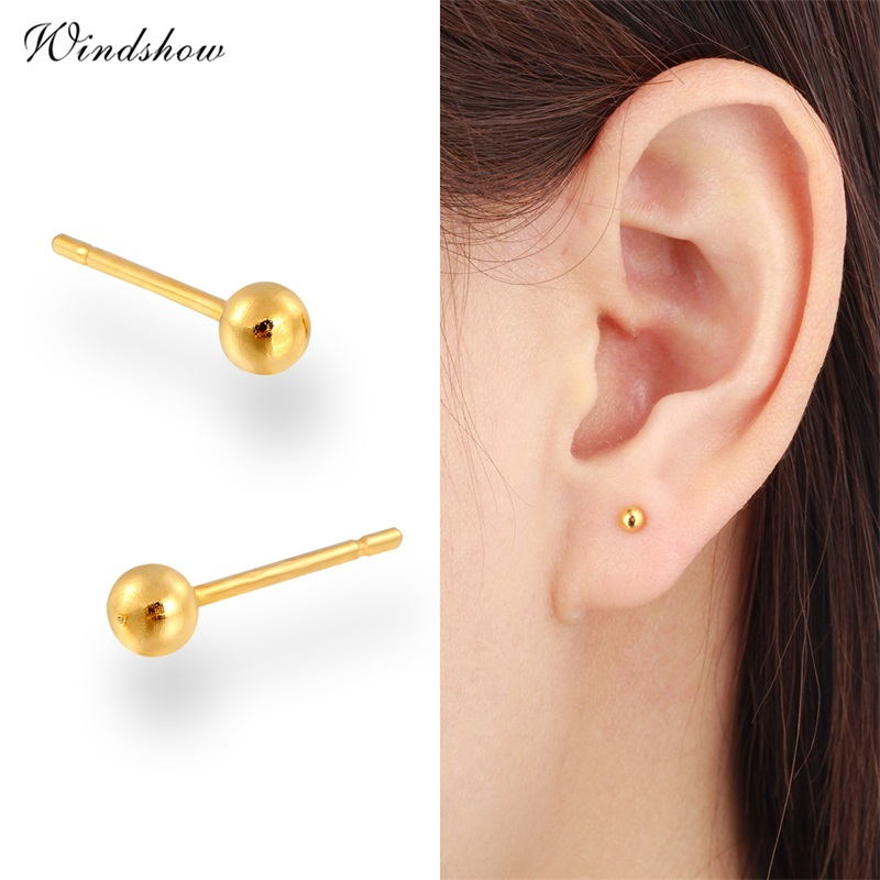 7 Size Yellow Gold Color Piercing Slim Small Round Ball Stud Earrings For Women Men Children Baby S Kids Jewelry Aros Arete في