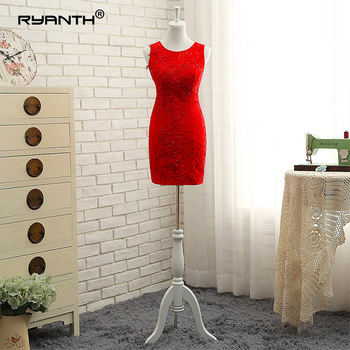 Ryanth New Fashion Lace Red Mermaid Short Prom Dresses 2018 Sexy Scoop Mini Formal Evening Party Dress Real photo