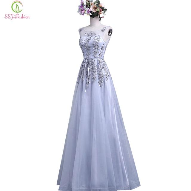 SSYFashion Banquet Long Bridesmaid Dresses Bridal Elegant Grey Lace  Appliques Sleeveless Floor-length Party Prom Dress Vestidos 3194986dd
