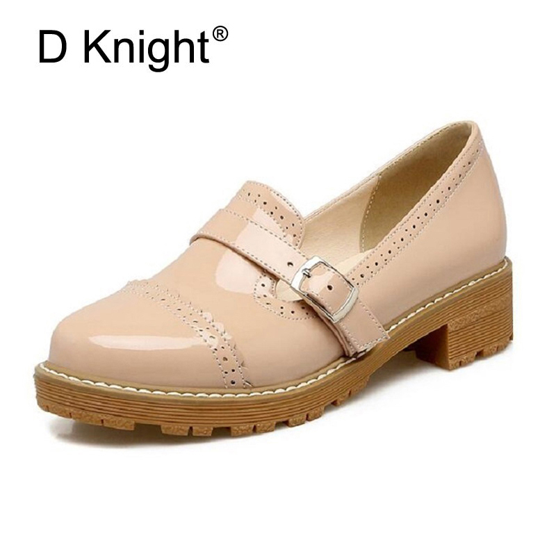 Women Oxfords Buckle Shoes Spring Autumn Slip-on Loafers Patent Leather Women Flats Shallow Single Carved Brogue Shoes Woman C97 2017 summer hot sale pregnant women flats loafers shoes leather slip on shallow mouth pointed casual single shoes eu size 35 40