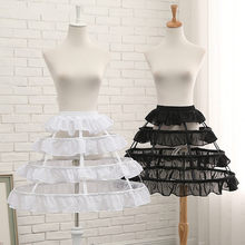 Black or White 3 Hoop Short Petticoats for Wedding Lolita Rockabilly Girl Fluffy Woman Underskirt Crinoline Pettycoat Hoop Skirt(China)
