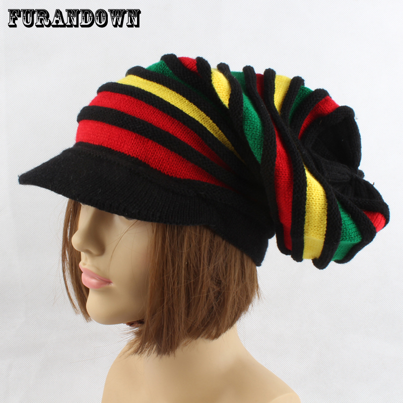 Autumn Womens Hat Winter Cap Rasta Men Beanie Hat Color Patchwork Knitted Hats For Women Casual Hip Hop Cap Visor Skullies