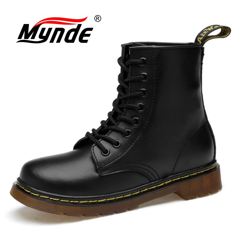 Mynde 2019 Leather Ankle Boots Autumn Winter