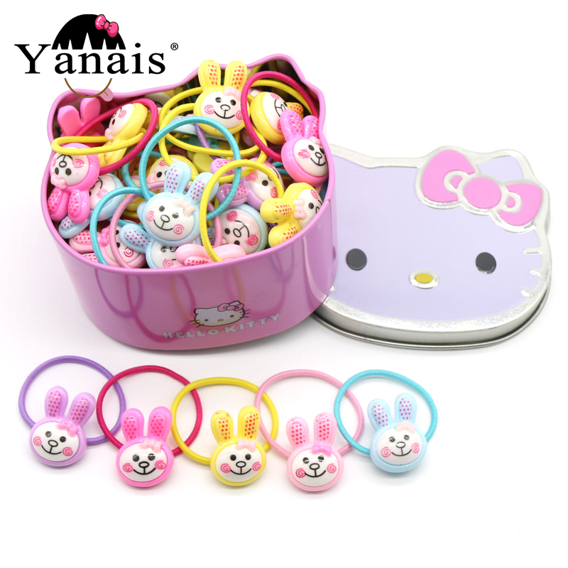 50pc/set Cute Rabbit/Bunny Elastic Hair Bands In Hello Kitty Gift Box Acrylic Cartoon Rubber Band Girls Tie Gum Accessories