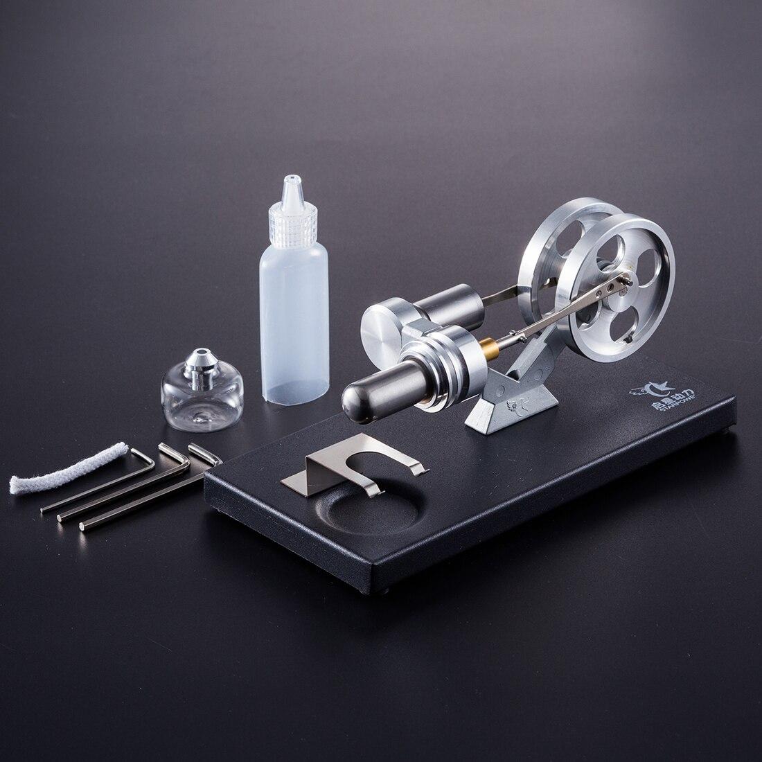 1 pcs DIY Métal Cylindre Chaude Gaz Turbine Moteur Stirling Modèle Kit Avec Noir Socle En Métal Tige À Vapeur Modèle Ensemble - 2
