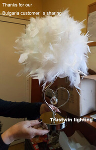 Image 3 - Bedside reading room foyer sitting room living heart shape white feather crystal table lamp light