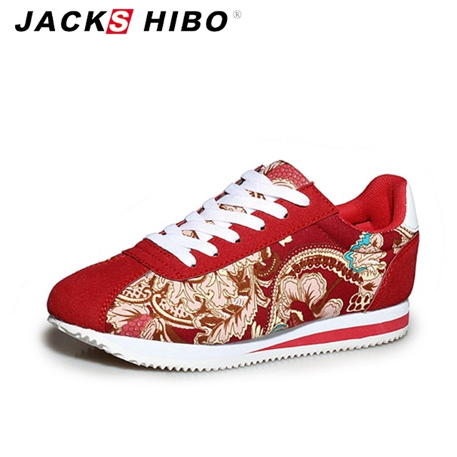 JACKSHIBO 2016 summer women Canvas shoes,Chinese traditional print  woman casual shoes,retro laid back chaussure cortez shoes