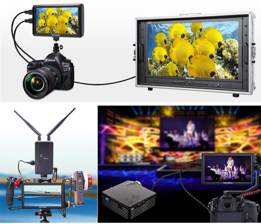FEELWORLD S55 5.5 cal DSLR ekran aparatu 4K HDMI LCD IPS HD 1280x720 wyświetlacz monitor zewnętrzny 8.4V DC wyjście dla Canon Sony Nikon 9