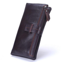 Top Quality Genuine Leather Long Wallet Men Pruse Male Clutch Belt Design Wallets Men Money Bag