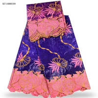 African Lace Fabric/Bazin Riche fabrci High Quality/Free Shipping purple Bazin Riche Getzner with Scarf for women dressBZ710DB02