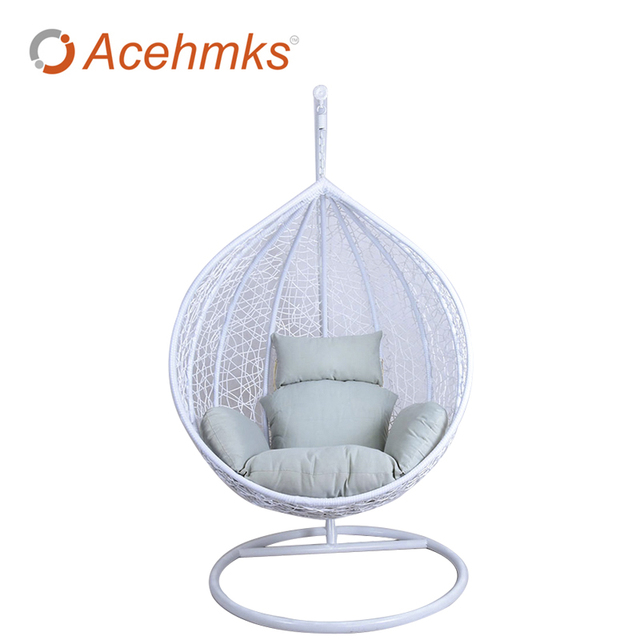 Outdoor Egg Shape White Rattan Hanging Basket Furniture,Rattan Patio Swing  Cheap For Sale Factory