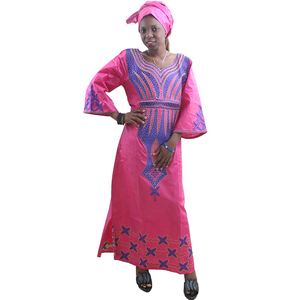 Image 5 - MD ladies african dresses scarf african bazin riche dress with embroidery head wrap women maxi dress african print dresses kanga
