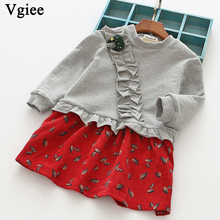 Vgiee Dress for Baby Girls Dresses 2019 Winter Party Princess Dress Full Patchwork Print Robbit Little Girls Clothing CC264