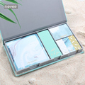 Never Light Blue Series Leather Cover Sticky Notes set planner accessories Memo Pad Post It Office Accessories Gift Stationery