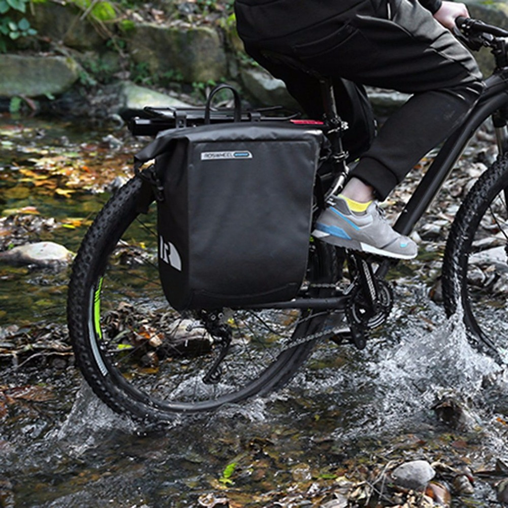 New Bicycle Unilateral Luggage Bag PVC Full Waterproof 20L Large Capacity Bike Rear Rack Carrier Bag Outdoor Cycling Pannier Bag coolchange multi function bicycle rear seat trunk bag bike luggage package rear carrier pannier eva shell with rain cover