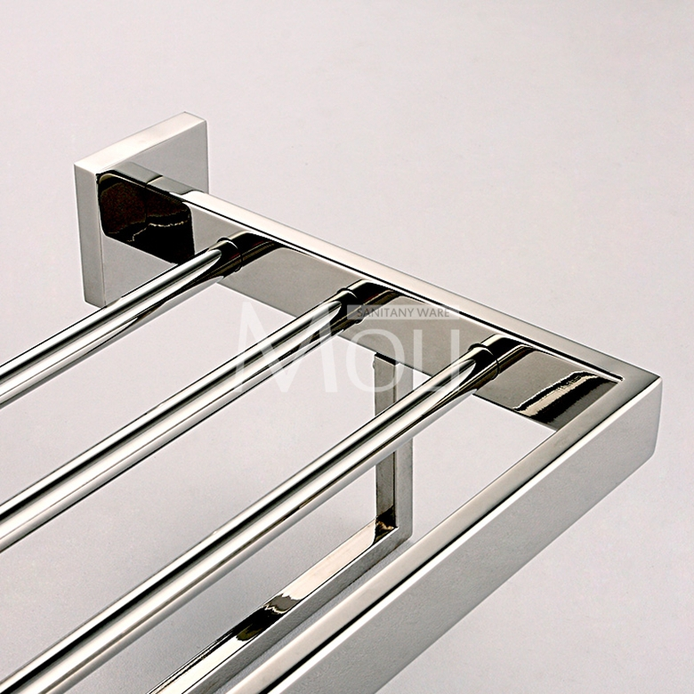 Mirror Polished Stainless Steel Towel Rack Square Single Layer Holder With Bar Wall Mounted Bathroom Accessories In Racks From Home Improvement
