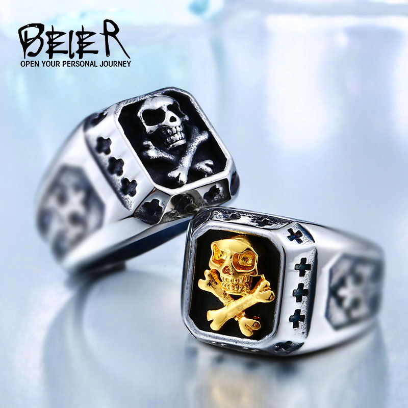 BEIER Drop Shipping Sale Stainless Pirate Part Plated-Gold Skull For Man Titanium Steel Boys Punk Fashion Ring BR8-331 ...