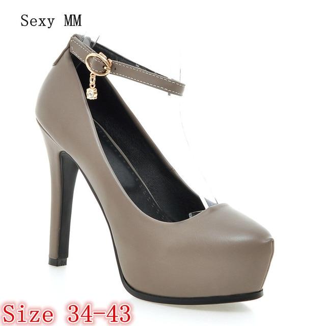 538a441ea8c Women High Heel Shoes Platform Pumps Woman Thin High Heels Party Wedding  Shoes Ladies Kitten Heels Plus Size 34 - 40 41 42 43