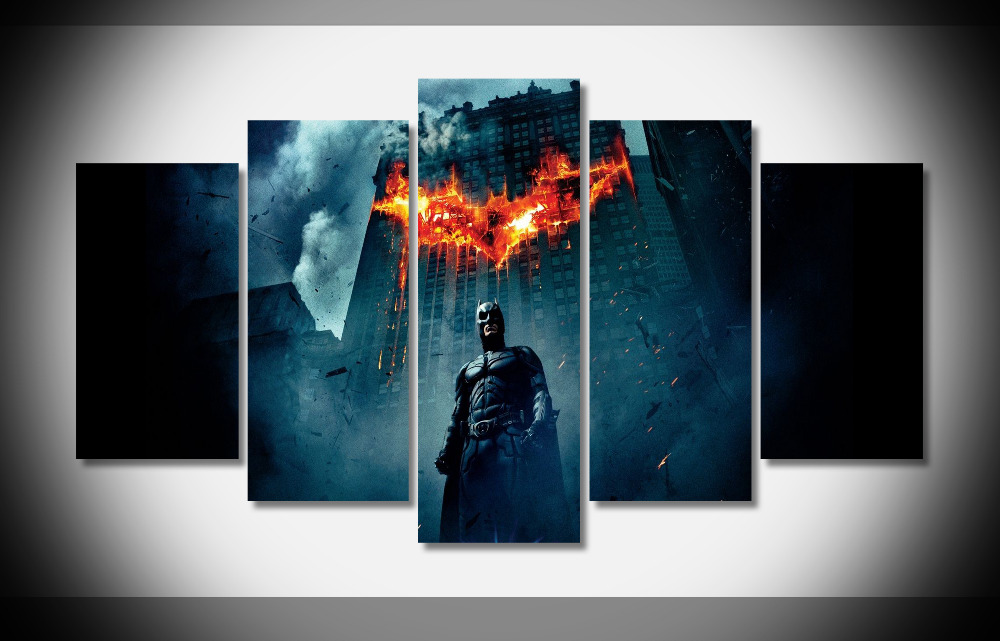 6784 batman the dark knight bat signal destruction movies poster Framed Gallery wrap art print home wall decor wall picture