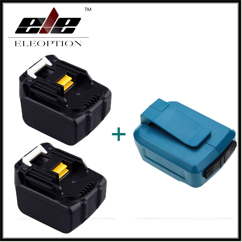 Eleoption 2x 14.4V 3.0Ah 3000mAh Li-ion Replacement Battery Pack For Makita BL1430 194066-1 194559-8 + Dual USB Charger Adapter