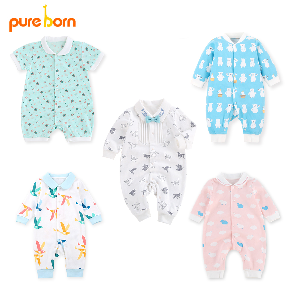 2017 Infant Baby Girls Rompers Summer Cotton Baby Girl Clothes Blue Polka Dots R
