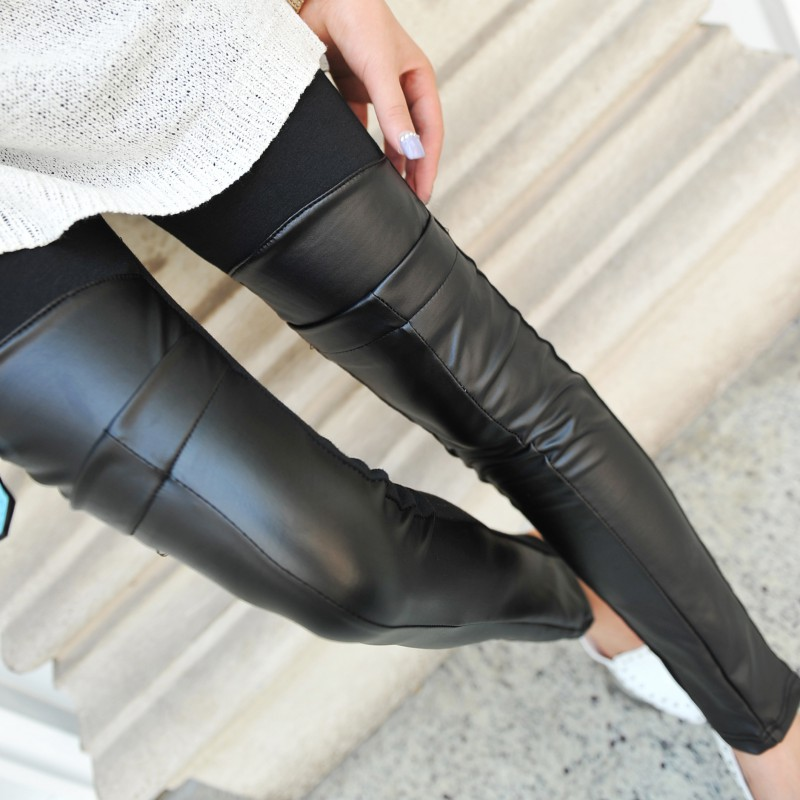 Casual Women Leggings Faux Leather Leggings Thin Black Leggings Stretchy Leggings Anle-Length Push Up