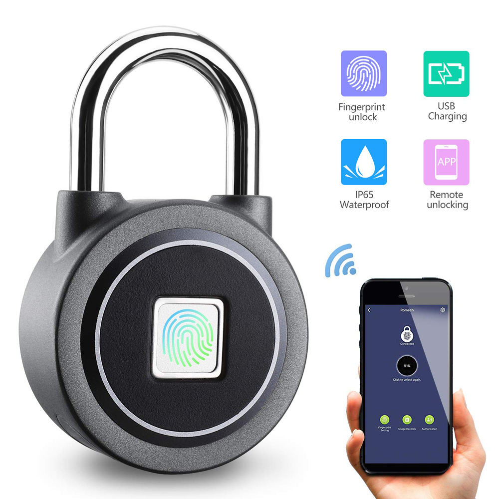Electric Lock Travel Backpack Luggage Fingerprint Lock Gym Cabinet Important Items Anti-theft Padlock Mini Smart Portable Security Lock Selling Well All Over The World Security & Protection