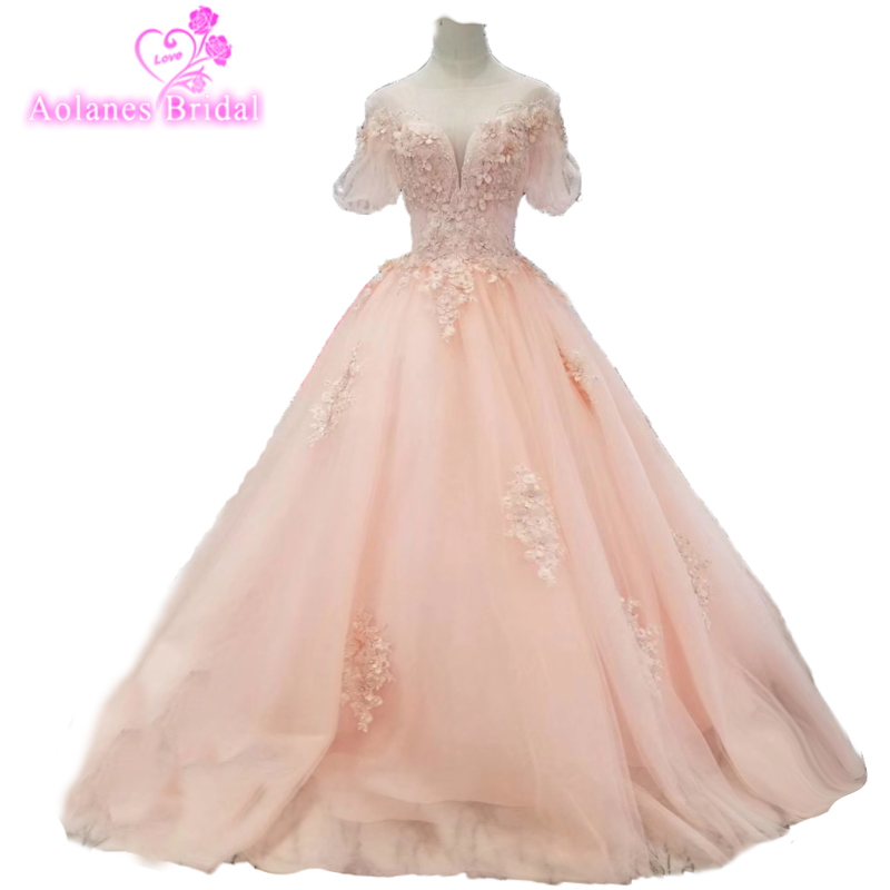 Pink Puffy Cheap   Prom     Dresses   Long 2019 New O Neck Short Sleeveless 3d Flowers Pattern Plus Size Formal Ball Gown Party   Dresses