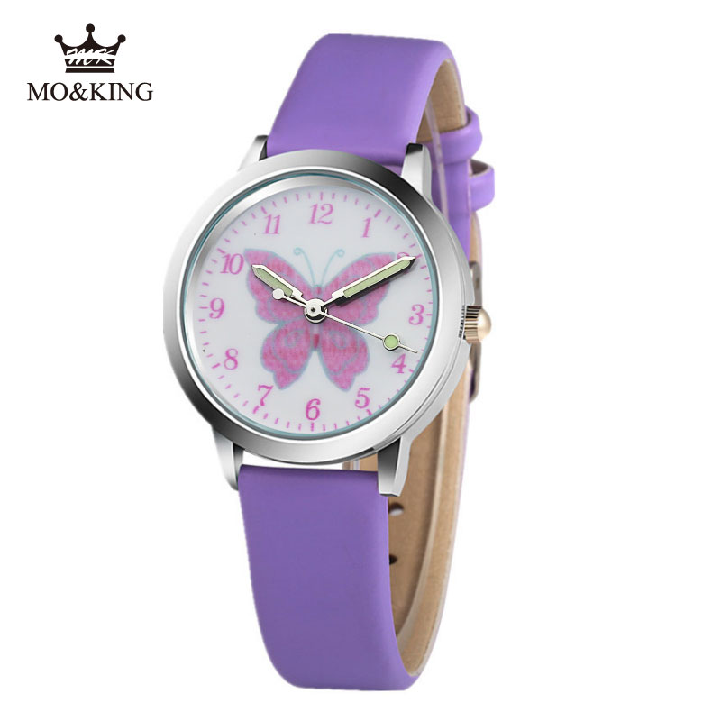MK MO KING7 Color Cute Colorful Cartoon Butterfly Children Watch Pink White Boy Girl Clock Baby Birthday Gift Watch Box Reloj A1