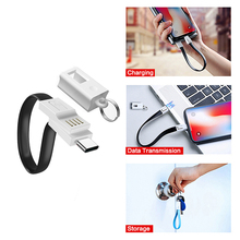 USB Charger Cable For iphone Huawei Samsung Keychain Short Charging Cord Xiaomi Type-C Micro usb Phone Portable Data Wire