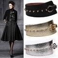 Nueva Llegada Europa Estilo Moderno Moda Mujer Cinturones de Metal Remache Super Gran Correa De La Pu Negro de Plata de Oro de Tres Colores Accesorios