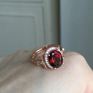 Image 2 - MeiBaPJ bague en pierres précieuses en grenat rouge naturelle pour femmes, bijou fin à breloques en argent Sterling 925